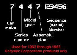 1962 through 1965 chrysler corporation v i n system decoding