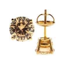womens stud earrings cognac swarovski stud earrings 14k yellow gold