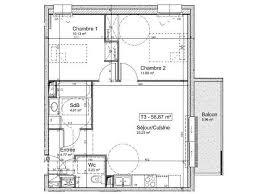 plan appartement 3 chambres achat appartement 3 pièces 56 87 m à blois square habitat