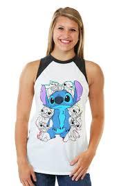 Disney Clothes For Juniors Lilo And Stitch Retro Stitch Juniors Muscle Raglan Tank