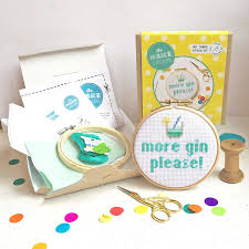 more gin cross stitch craft kit by the make arcade