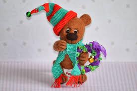 rocky ooak needle felted christmas teddy bear vitalina craft