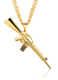 real gold cross necklace images Gangsta quot men 39 s 18k stamp real gold plated m16 ak47 gun pendant jpg