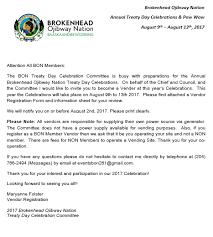 brokenhead ojibway nation community notice u2013 bon treaty days
