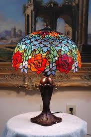 stained glass l bases 16 w roses peony tiffany style stained glass jeweled table desk l