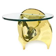 Yellow Accent Table Brass Peacock Side Table Modern Furniture Jonathan Adler