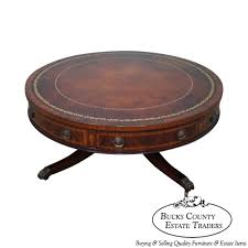 baker vintage 1940s mahogany leather top round revolving regency