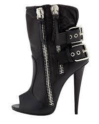 womens biker boots with heels giuseppe zanotti double buckle biker peep toe bootie in black lyst