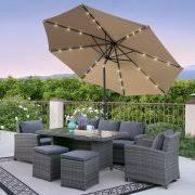 bcp 10ft deluxe patio umbrella w solar led lights tilt