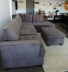 grey sectional sofa with chaise burbank charcoal grey waffle suede sectional with reversible chaise