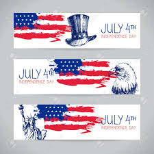 Th Flag Banners Of 4th July Backgrounds With American Flag Independence
