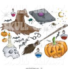 vector clip art of a digital set of halloween stuff witch hat