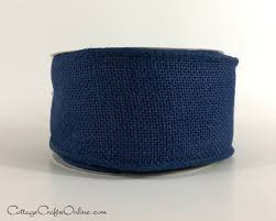burlap wired ribbon wired ribbon 2 1 2 navy blue burlap ten yard roll