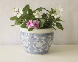 blue white planter etsy