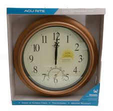 acurite 18 inch atomic metal copper outdoor clock with thermometer