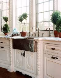 satin nickel white kitchen love everything about this an old world kitchen sinks hammered copper and kitchens