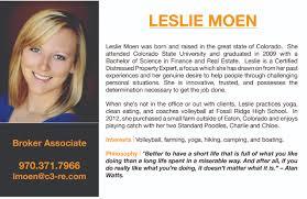 Resume Of A Real Estate Agent Leslie Moen Realtor Northern Colorado Fort Collins Realtors
