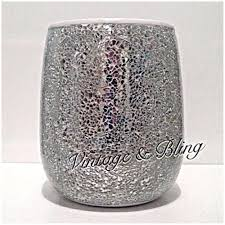 silver crackle mirror glass bathroom sparkle glitter bin new