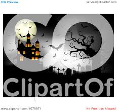 halloween graveyard clipart clipart dark cemetery with a cat spider bats full moon and haunted