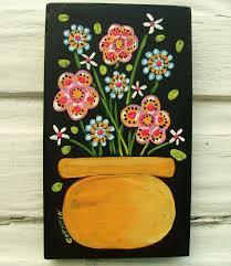 folk primitive floral painting original art goshrin outsider