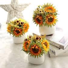 artificial sunflowers 5pcs artificial yellow sunflower bouquet large artificial flowers