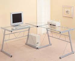 furniture l shaped office computer desk with glass top and chrome