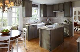 kitchen with subway tile backsplash design ideas cool small kitchen design with bay window and beige