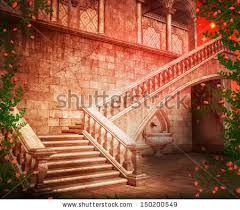 Castle Backdrop Stairs Castle Fantasy Backdrop Stock Illustration 150200549