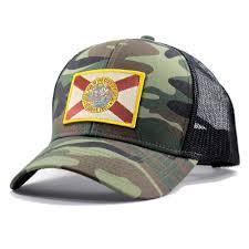 homeland tees florida flag hat army camo trucker