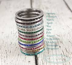 stackable birthstone ring sterling silver stackable name birthstone rings woobie beans