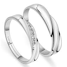couple rings silver images Fashion cheap couple ring silver color 2pcs adjustable rhinestone jpg