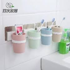 bathroom cup holder suction cup type toothbrush holder plastic cup