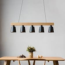 Plafonniers De Bureau Amazon Zmh Lustre Retro Suspension Led Le à Suspension En Bois Et