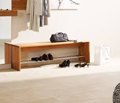 Modern Shoe Storage Bench Shoe Rack Bench With Wood Bench And Tile Flooring And Plain