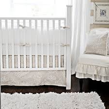White Crib Set Bedding Sand Scroll Crib Bedding Set Vintage Nursery Gender Neutral And
