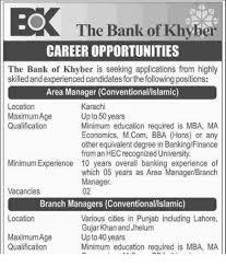 Jobs Economics Degree by Bok Jobs Bank Of Khyber Sept 2016