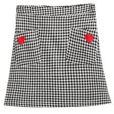plaid skirt heart pocket plaid skirt kawaii harajuku fashion