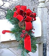 large lighted christmas bow amazon com solar poinsettia swag holiday mailbox decoration