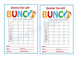 buy 2 get 1 free summer beach bunco score card sheet with