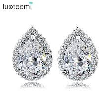 teardrop stud earrings luoteemi luxury design wedding bridal teardrop cubic zirconia