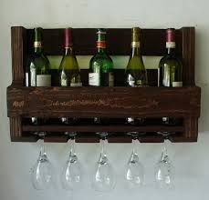 simply rustic 6 bottle wall mount wine rack with 4 glass slot