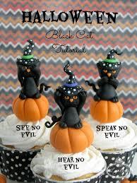 no evil black cat halloween cupcake tutorial
