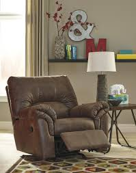 Leather Rocker Recliner Ashley 1200025 Bladen Rocker Recliner Coffee Faux Leather Upholstery