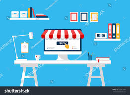online shopping concept desktop computer screen stock vector