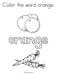 color the word orange coloring page twisty noodle