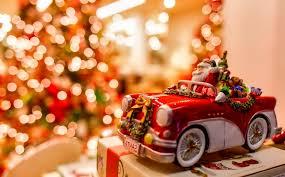 santa coming beautiful red car merry christmas