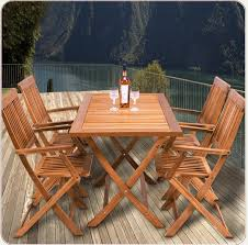 wooden garden dining table chair set folding balcony furniture