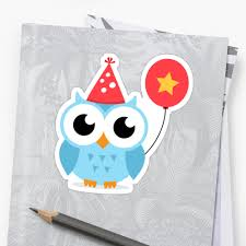 cute blue party owl with balloon sticker