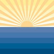 sun with rays and sea marine creative background stock vector