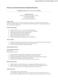 resume summary exles here are assistant resume entry level resume